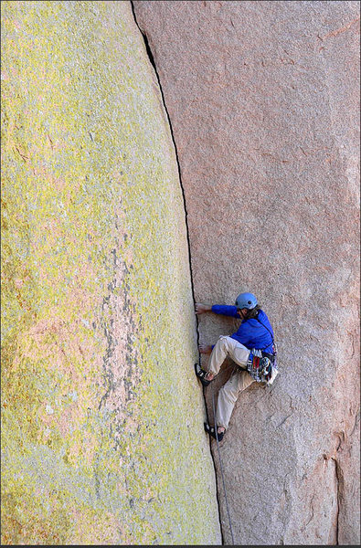 Photo taken by the climber who was the cover model of Bob Kerry's Backcountry Rockclimbing in Southern Arizona (same route, same pose).