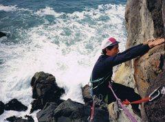Rock Climbing Photo: C.H. finishing The Seductive Mermaid, 5.10d, 11 bo...