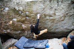 Rock Climbing Photo: Sending Spak (V4) at Great Barrington.