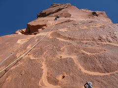 Rock Climbing Photo: Eric mid way up pitch 2 with a soloist above finis...
