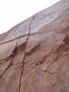 Rock Climbing Photo: The 5.12- crux pitch