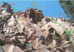 Rock Climbing Photo: View of Orange Out wall with known routes