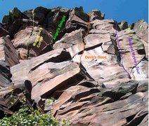 Rock Climbing Photo: Magumba's Corner, Angel's Delight, Devil's Deed, M...