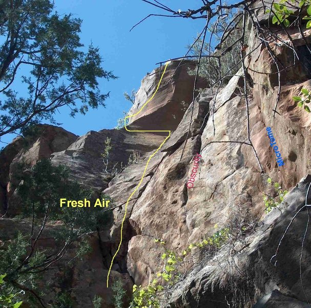 Rock Climbing Photo: Looking up at start to Fresh Air, Obscurity and Mi...