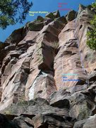Rock Climbing Photo: Looking up at Magical Mystery Tour and the Lines (...