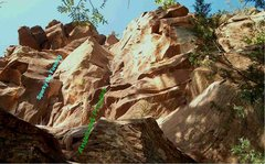 Rock Climbing Photo: Looking up Sparky and Answered Prayers.  Obscurity...