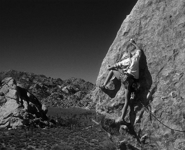 The technical crux, as interpreted circa 1987. Climber: tommy klinefelter