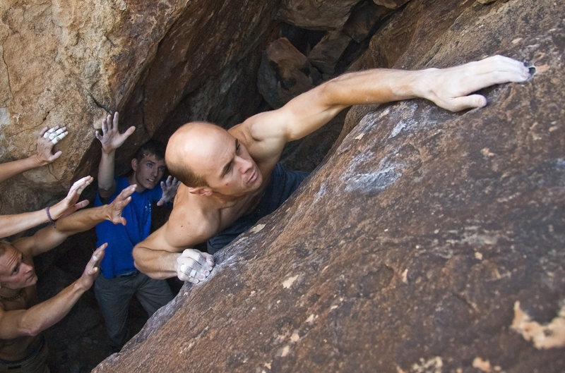 Rock Climbing Photo: Chris pulling the crux of Dilated Pupils.  Photo b...