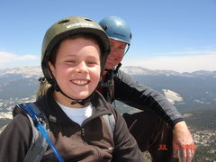 My son and I enjoying the summit (Cathedral Peak)