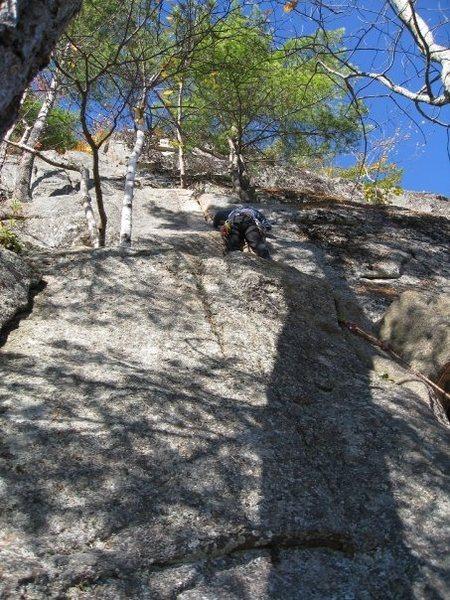 Rock Climbing Photo: Ben Natusch leading Fun House at Cathedral Ledge