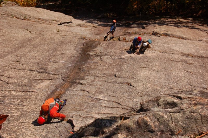 Ben Natusch seconding the third pitch of Thin Air, Cathedral Ledge