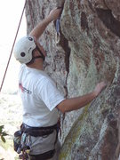 Rock Climbing Photo: Theron cleaning the pro that you place just before...