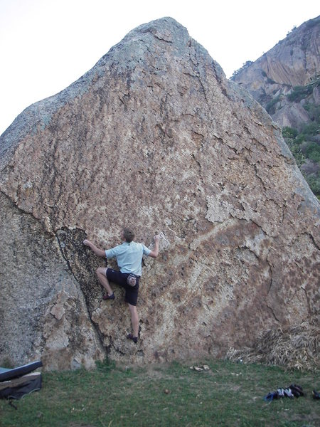 some fun, tall, easy problems on this road-side boulder