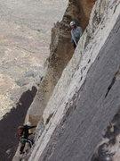 Rock Climbing Photo: Andrea belaying Elena near the top of P4 as viewed...