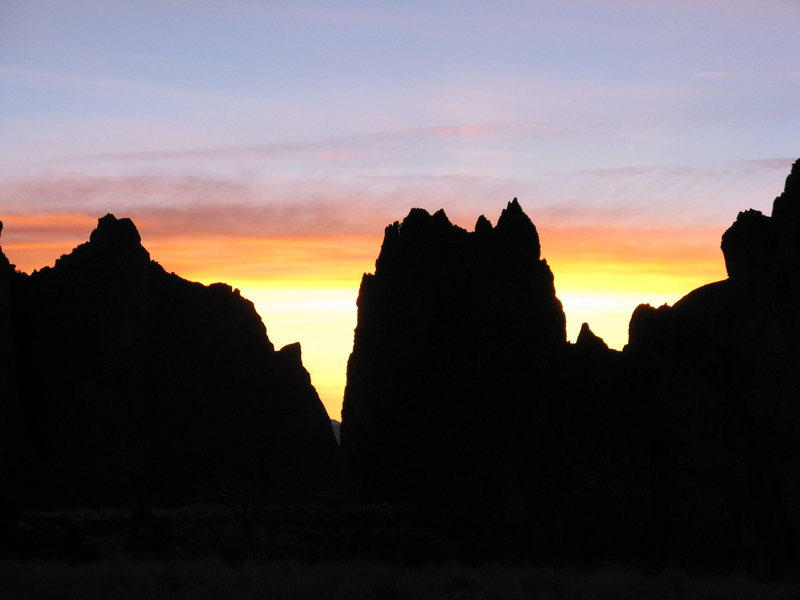 Winter sunset on the Smith Rock group