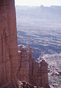 Rock Climbing Photo: A climber on the corkscrew summit of Ancient Art a...