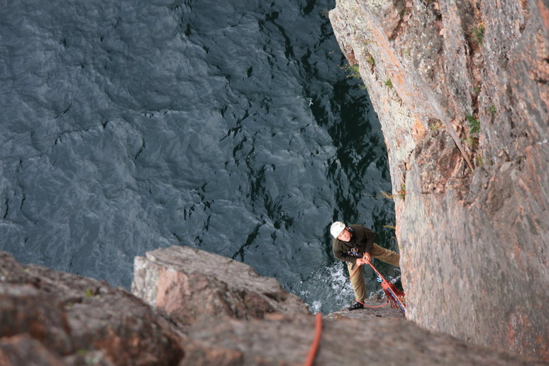 Rock Climbing Photo: The hanging belay on The Great Yawn. 5.6