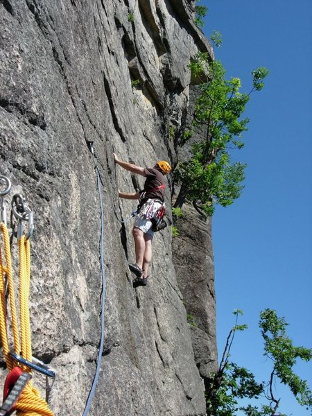 Rock Climbing Photo: Jason Stone leading off on the second pitch of Thi...