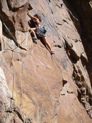Rock Climbing Photo: Rosy Toit.  First pitch of Le Toit, Eldo
