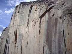 Rock Climbing Photo: View from the base of the North face/cables route ...