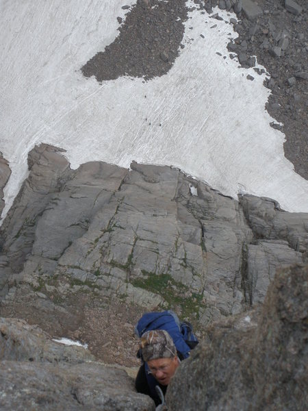 Douglas following the last vertical pitch on the casual route!  Climbers down below on the snow!