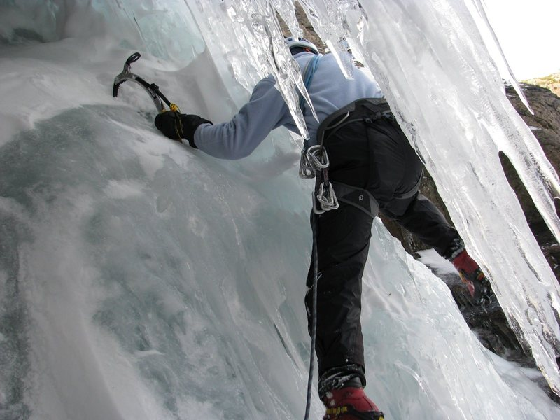 Ice fall above Emerald Lake, RMNP on November 9, 2008. A long time trad rock guy tries ice for the first time. WAHOOO!
