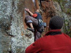Rock Climbing Photo: Rachel starting up Filthy Sanchez.