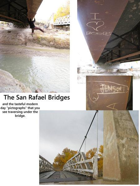 The San Rafael Bridges and the tasteful graffiti underneath the bridge.