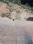 Rock Climbing Photo: Dede following the classic finger crack on Birdlan...