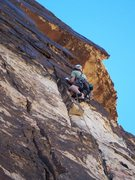 Rock Climbing Photo: The wide crux section on Chasing Shadows...