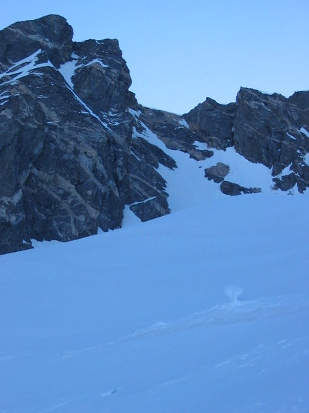 Rock Climbing Photo: The Dais Couloir from just below.  We ascended jus...