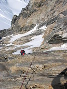 Rock Climbing Photo: The rock section at the top of the Dais Couloir.  ...