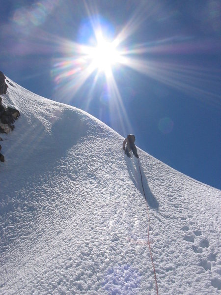 Bob Lowe leading some snow on our descent from the Dais Couloir on Mount Waddington.