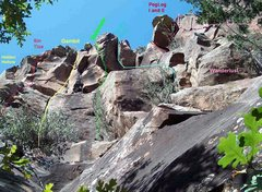 Rock Climbing Photo: Looking up at the Gambit area.  All are good climb...