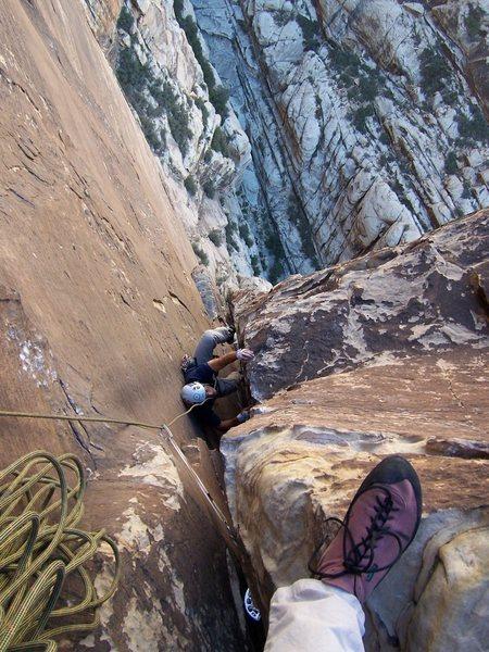Rock Climbing Photo: Joe following the final fun chimney on Epinephrine...