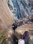 Rock Climbing Photo: Joe following the final fun chimney on Epinephrine...
