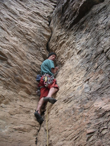 Dave Sharp climbs Jawbone
