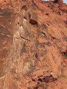 Rock Climbing Photo: Kentucky Pete starting up Iron Maiden (5.11c).