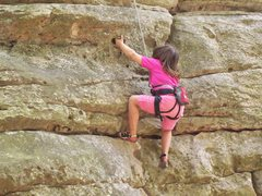 Rock Climbing Photo: Kianna W. top roping for beta, after Uncle Bradley...