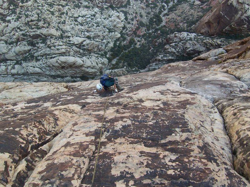 Rock Climbing Photo: Dean following pitch 10 of Dream of Wild Turkeys.