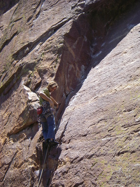 Rock Climbing Photo: Chris Sharma enjoys a rare trad lead on the first ...