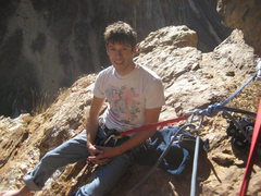 Rock Climbing Photo: Me at the belay at the base of pitch 3.