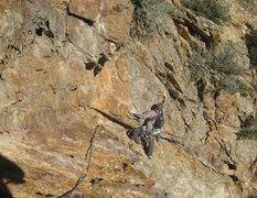 Rock Climbing Photo: Christian starting pitch 3. Don't fall, buddy!