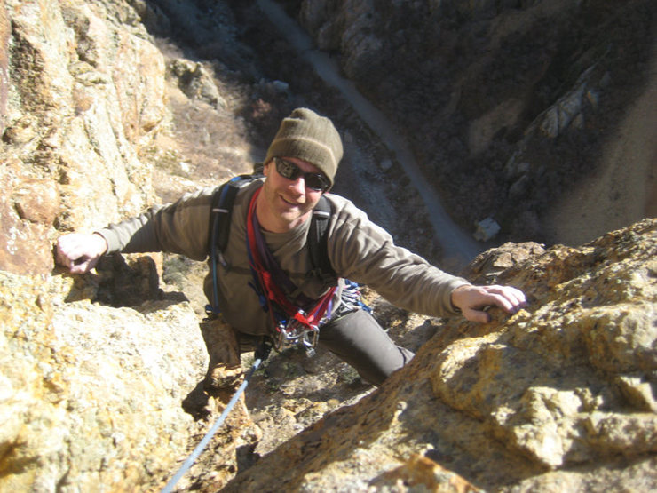 Christian topping out on pitch 4.
