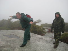 The weather was miserable & the wind kicked in, John & Frank at Sam's Point Reserve High Point