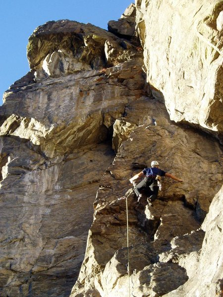 Rock Climbing Photo: On the steep flakes. The awkward-to-reach anchors ...
