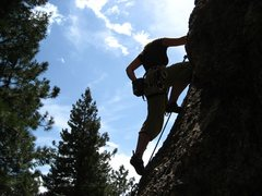 Rock Climbing Photo: Robin beginning a climb in the Monastary.
