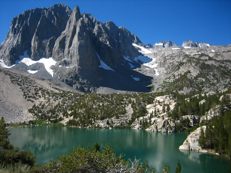 A great view of Temple Crag at the top of the North Fork of Big Pine Creek in the Sierras