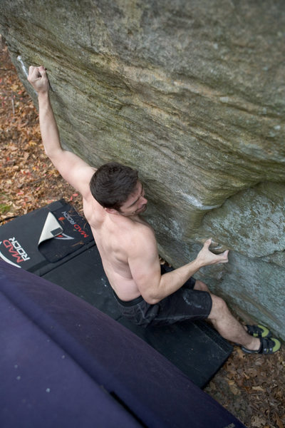 Rock Climbing Photo: first move, tiny crimp.