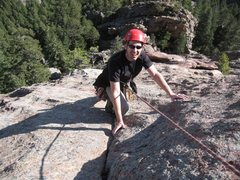 Rock Climbing Photo: Rick on P2 of Fatiron with top of Fatironette belo...